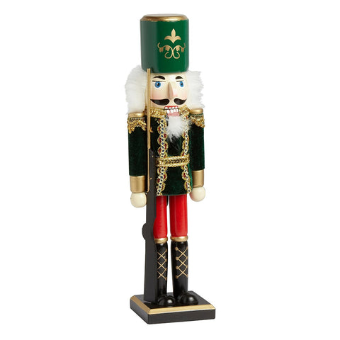 Nantucket Home Wooden Green Flocked Soldier 15-inch Christmas Nutcracker Decor
