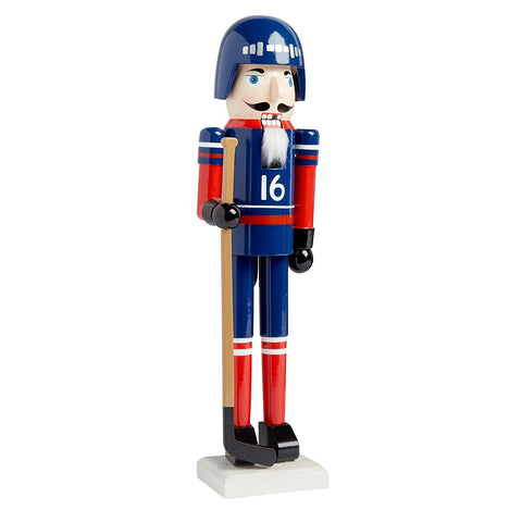 Nantucket Home Wooden Christmas Nutcracker Decor, 15-Inch (Blue/Red Hockey Player)