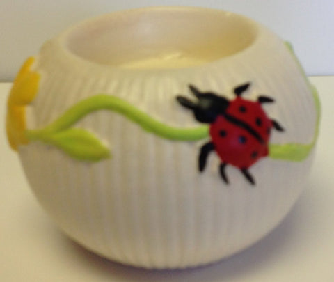 Decorative Tea Light Candle Holder - Ladybug Floral Design - Ceramic Clay