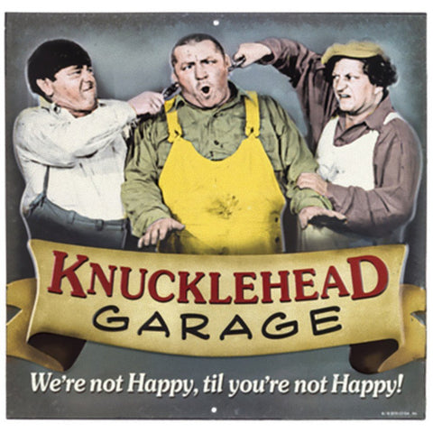 "Three Stooges Knucklehead Garage Tin Sign - 12""x12"" - MAN CAVE"
