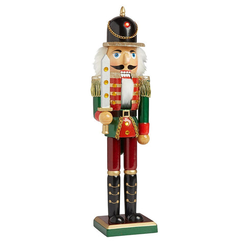 Nantucket Home Wooden Christmas Nutcracker Decor, 15-Inch (Red/Green Soldier)