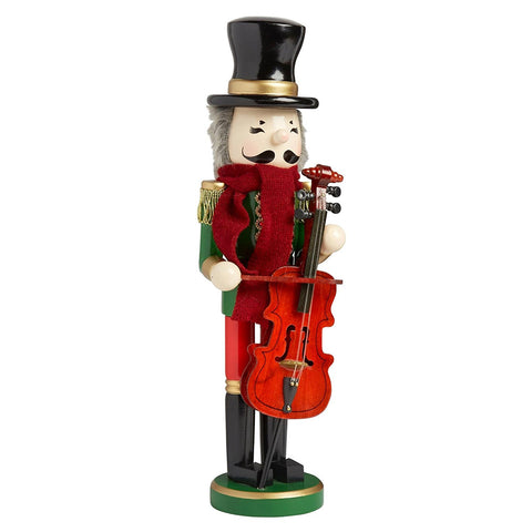 Nantucket Home Wooden Christmas Nutcracker Decor, 15-Inch (Caroler with Cello)