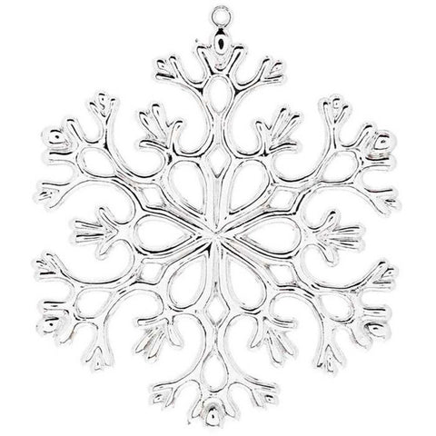 12-pc Set Silver 5 Inch Snowflake Christmas Ornaments - Shatter Proof
