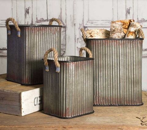 Corrugated Metal Storage Bins with Rope Handles Set of 3