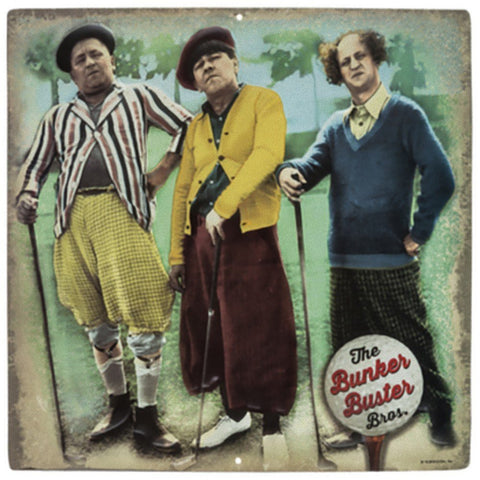 "Three Stooges Bunker Buster Bros Tin Sign - 12""x12"" - Golf"
