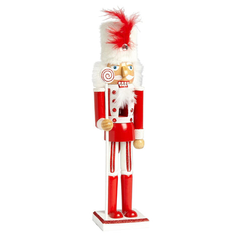 Nantucket Home Wooden Christmas Nutcracker Decor, 15-Inch (Red Candy Soldier)