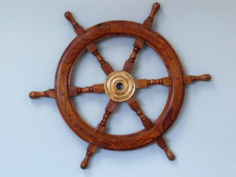 "Wooden Ship Wheel 18"" - Ship Wheels Wooden & Brass - Nautical Decorative Gift Solid Brass Home Nautical Decor - Executive Promotional Gift"