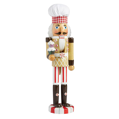 Nantucket Home Wooden Christmas Nutcracker Decor, 15-Inch (Cupcake Baker)
