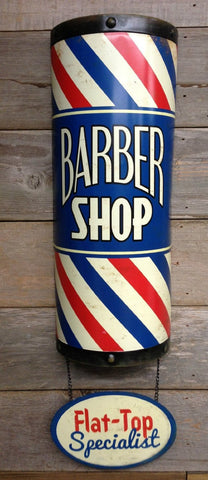 "LARGE 18"" 3D BARBER POLE SHOP Flat Top Specialist Metal Tin Decor Wall Sign Art MAN CAVE"