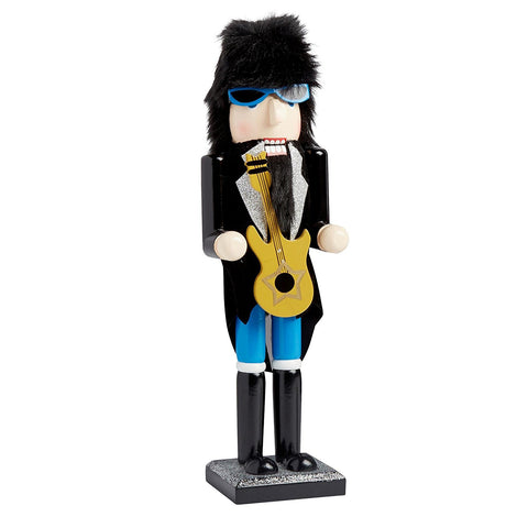 Nantucket Home Wooden Christmas Nutcracker Decor, 15-Inch (Rock N Roll With Guitar)