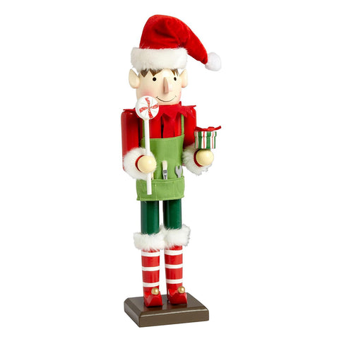 Nantucket Home Wooden Handyman Elf Christmas Nutcracker Decor, 15-Inch