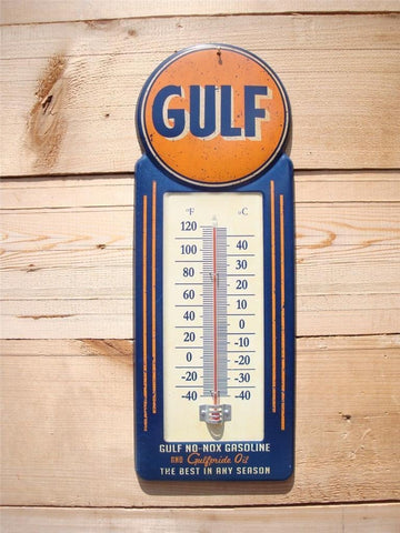 "LARGE 15"" GULF NO-NOX Gasoline and Oil Vintage Style Thermometer Sign Gas Service Station MAN CAVE Father's Day Gift"