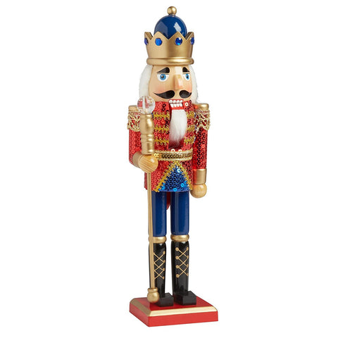 Nantucket Home Wooden Christmas Nutcracker Decor, 15-Inch (Red Sequin King Soldier)