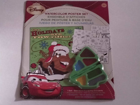 Disney Pixar Cars Watercolor Christmas Poster Set