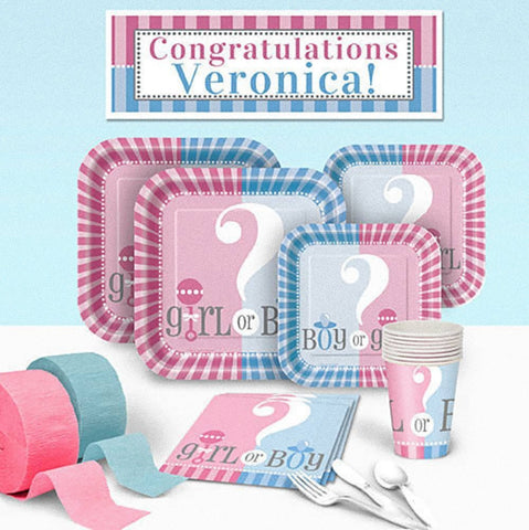Gender Reveal Baby Shower - Deluxe Party Pack - Personalized - Pink and Blue Party Supplies