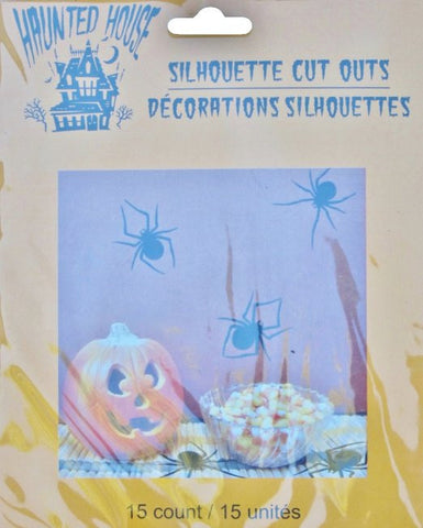 15 Silhouette Cut-Outs Black Spiders Halloween Decor Haunted House Spiders