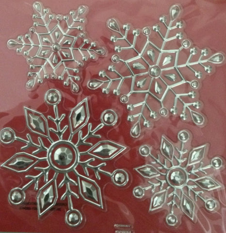 4 Deluxe Christmas Snowflake Stickers - Holiday Decorations - Gems