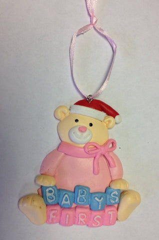 Baby's First Christmas Ornament - Teddy Bear in Pink w/ Santa Hat - Ceramic Clay 1st Christmas