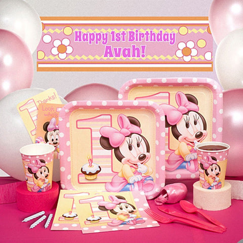 Minnie Mouse 1st Birthday - Deluxe Party Pack - Personalized - Girls Birthday Party Supplies