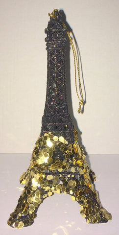 Black Glitter and Gold Sequin Eiffel Tower Ornament