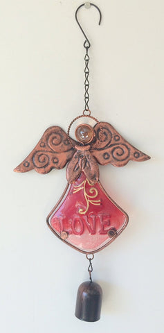 Angel Glass Wind Chimes - Peace, Hope or Love (Red - Love)