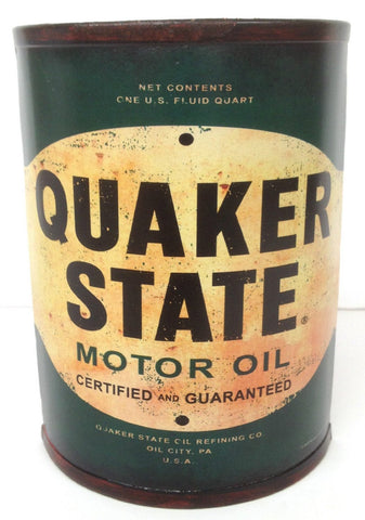 Genuine QUAKER STATE Motor Oil Can Vintage Style Wall Art Sign MAN CAVE