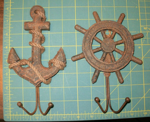 Set of 2 Nautical Wall Hook Set Antiqued