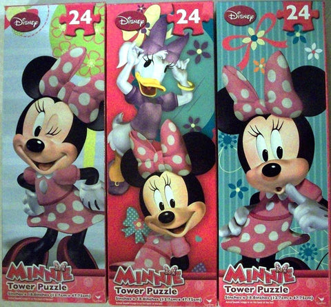 Minnie Mouse Tower Puzzle Pack - 24 Pieces Each - Set of 3