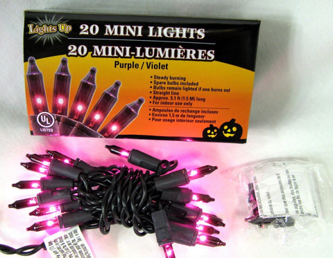 20 Count Halloween Electric Light Set 5.1 Feet Long Purple