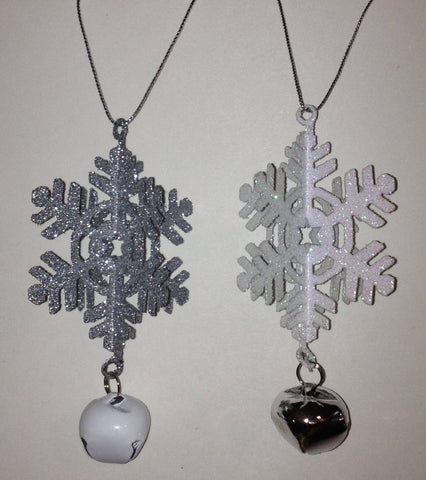 2 Pack 3-Dimensional Metal Glitter Snowflakes Ornaments with Jingle Bell