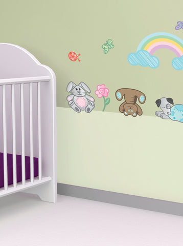 Adorable Nursery Decals - Rainbow, Clouds, Cute Animals - Perfect for Girl or Boy
