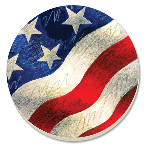 CounterArt Patriotic Wave Absorbent Coasters, Set of 4