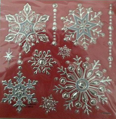 10 Deluxe Christmas Snowflake Stickers - Holiday Decorations