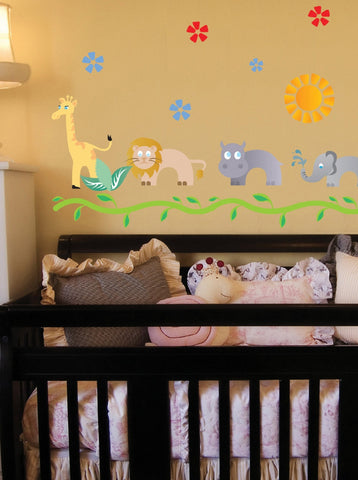 Adorable Nursery Jungle Animals Decals - Giraffe, Elephant, Hippo, Lion and Alligators - Boy or Girl