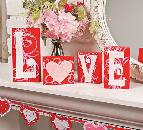 Wooden Love Blocks - Valentines Day - Table Top Decorations