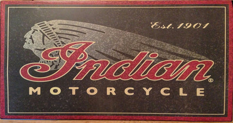 Indian Motorcycle Tin Sign with Indian in Headdress - Est 1901
