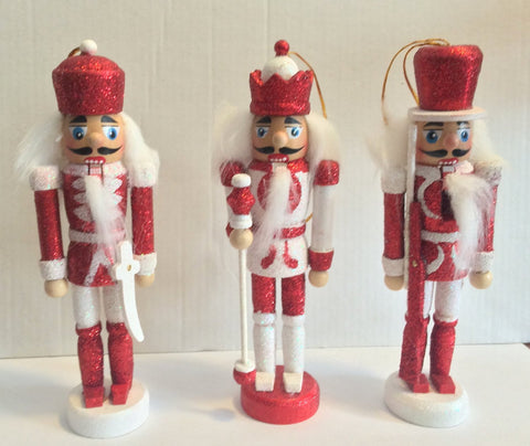 Set of 3 Red and White Glitter Wooden Nutcracker Christmas Ornaments 6""