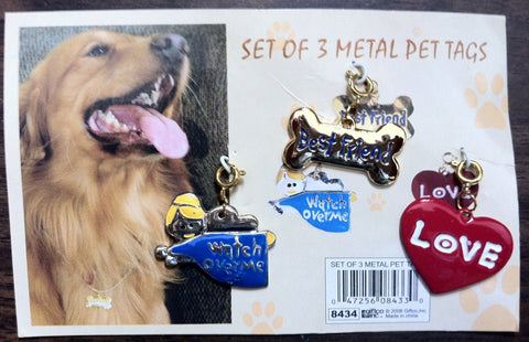 Pet Jewelry Set of 3 Cat Dog Tags for Any Ocassion! Angel, Bone & Love Heart