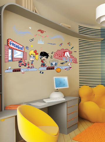 Japanese Manga Street Art Wall Decals