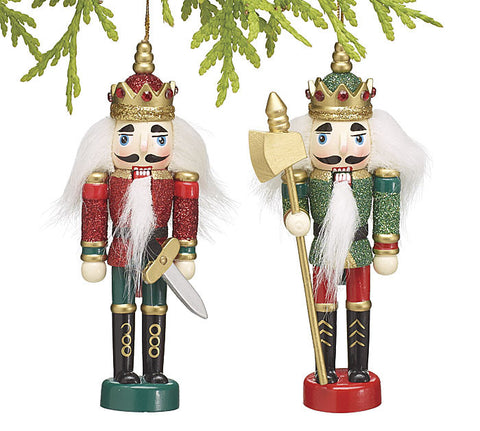 Set of 2 Red and Green Glitter Wooden Nutcracker Christmas Ornaments 5 1/2""