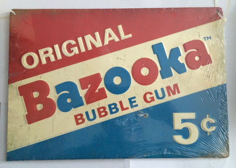 Original Bazooka Bubble Gum 5 Cents Embossed Tin Sign Vintage Look - Less Than Perfect