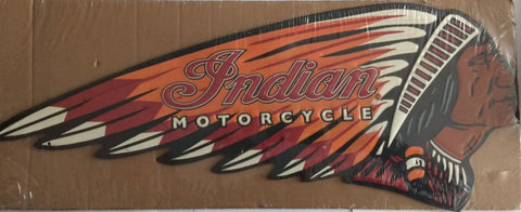 Indian Motorcycle Embossed Die Cut Tin Sign - Less Than Perfect