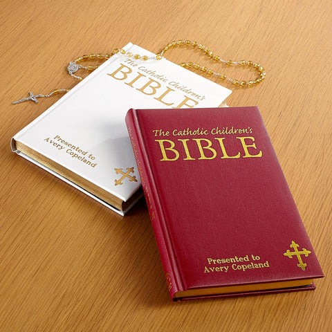 The Catholic's Children's Bible - Burgundy or White - Personalized with Your Child's Name