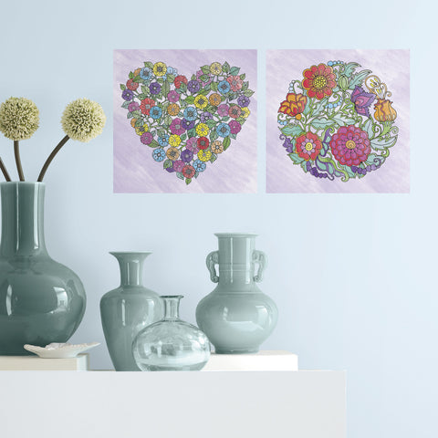 Color Your Decal - Flowers - Color - Peel - Stick - Create Your Own Art