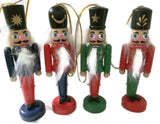 Set of 4 Wooden Nutcracker Christmas Ornaments 4""