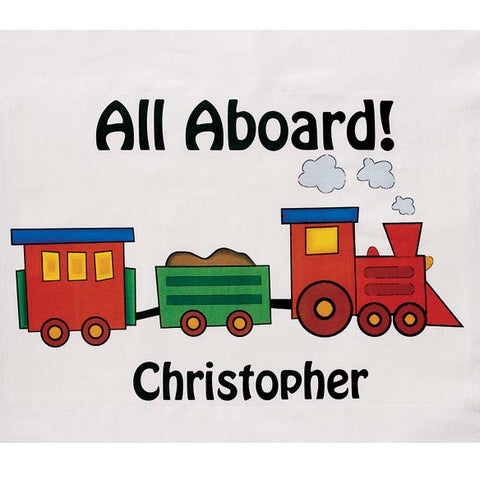 Personalized All Aboard! Train Pillowcase - Great Gift