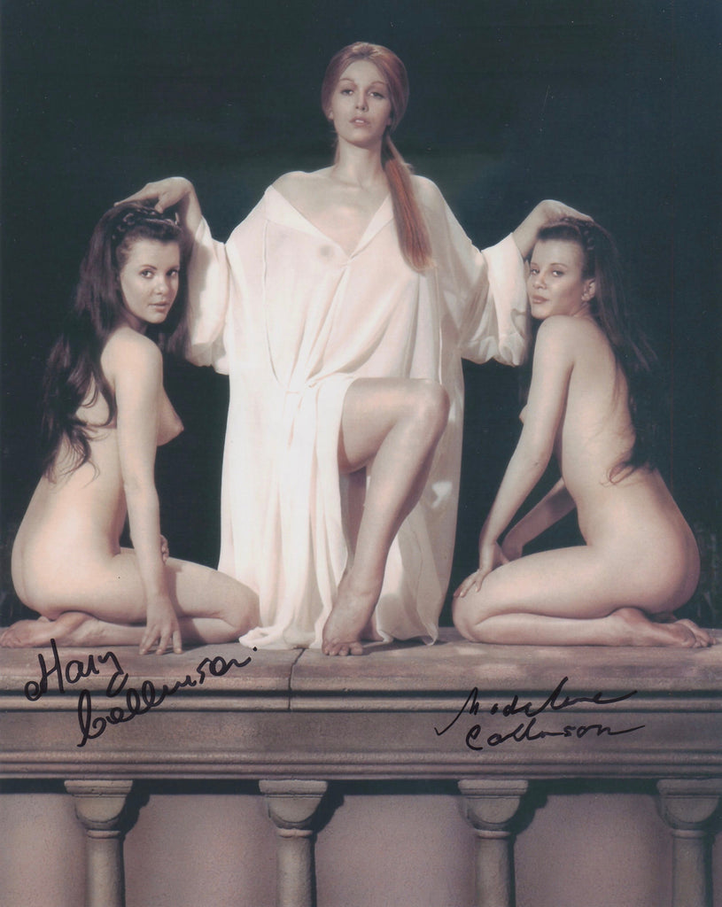 COLLINSON TWINS IN PERSON SIGNED PHOTO FROM 1971 HORROR CLASSIC ,'TWINS OF EVIL'