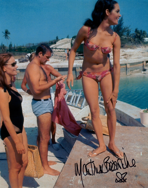 JAMES BOND GIRL MARTINE BESWICK ON SET IN PERSON SIGNED PHOTO FROM THUNDERBALL