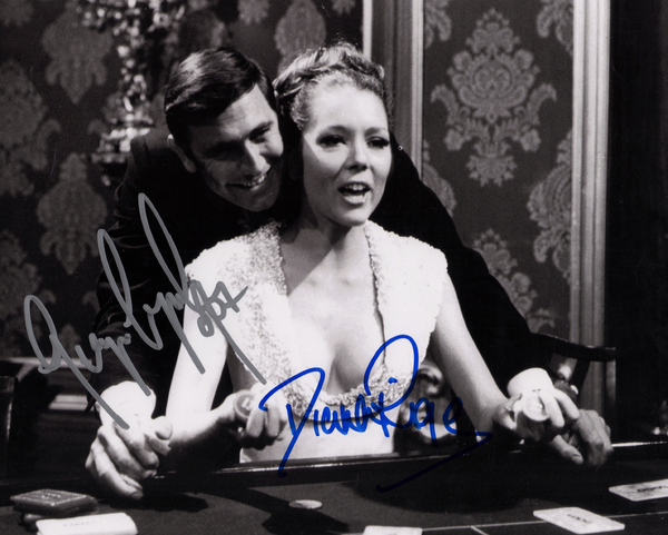 GEORGE LAZENBY & DIANA RIGG IN PERSON SIGNED PHOTO FROM ON HER MAJESTY'S SECRET SERVICE