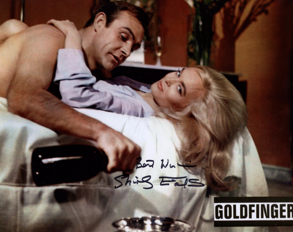 SHIRLEY EATON ON SET IN PERSON SIGNED PHOTO FROM THE1964 JAMES BOND FILM GOLDFINGER